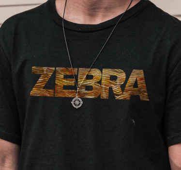 Camiseta de cebra con la palabra cebra en estampado de cebra marrón. Producto de alta calidad. Descuentos disponibles ¡Envío exprés!