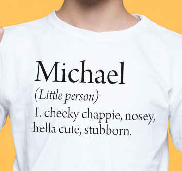 Kids t-shirt which features your child's name with the text 'Cheeky chappie, nosey, hella cute, stubborn' underneath. High quality.