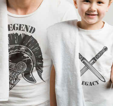 Father and son matching t-shirt set which features a set of two t-shirts, one with the word legacy and one with the word legend.