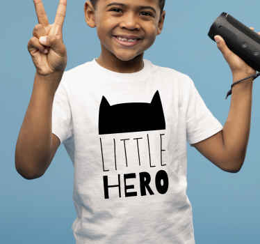 Superhero t-shirt which features an image of Batman's head with the text 'little hero' underneath it. High quality materials.
