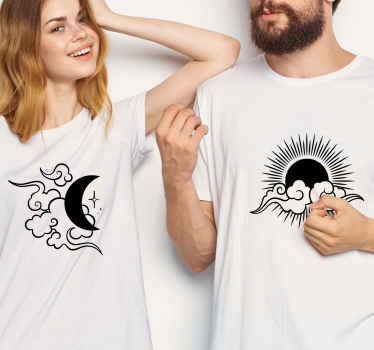 Matching t-shirt set which features two t-shirts, one with a moon on it and one with the sun! They make the perfect gift!