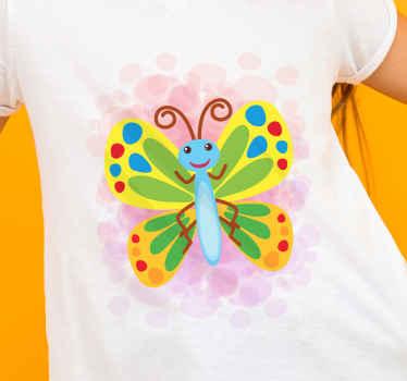 T-shirt petite fille avec une illustration d'un grand papillon multicolore avec du bleu, du rouge, du jaune, du vert, etc.
