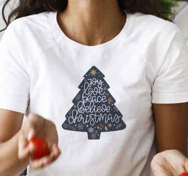 ¡Camiseta navideña de aspecto fresco con árbol de navidad y frases positivas de navidad! Compra este diseño ahora! ¡Entrega a domicilio!