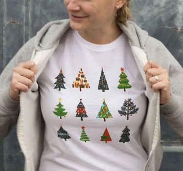 ¡Increíble camiseta navideña con patrón de árboles de navidad para que vistas de forma original en estas fechas! ¡Envío exprés!
