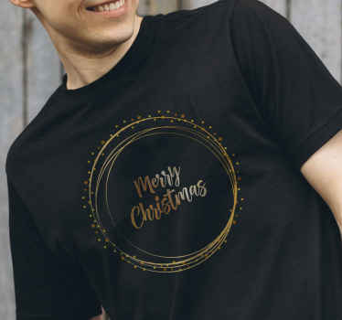 """¡Increíble camiseta navideña elegante con texto """"Merry Christmas"""" en tonos dorados! Elige el tamaño y color del diseño ¡Envío exprés!"""