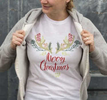 ¡Camiseta navideña de reno es la manera perfecta para llevar en las fechas navideñas! ¡Pídelo ahora! Diseño con cuernos de renos florales