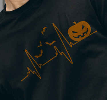 Happy Halloween t-shirt for men with the design of a pumping, flying bats and wave line. Made of high quality material and easy to maintain.