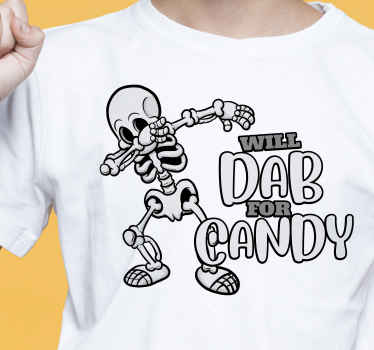 Looking for a funny Halloween t-shirt design? Here is a fun t-shirt design printed with the the image of a skeleton making a dab . Easy to maintain .