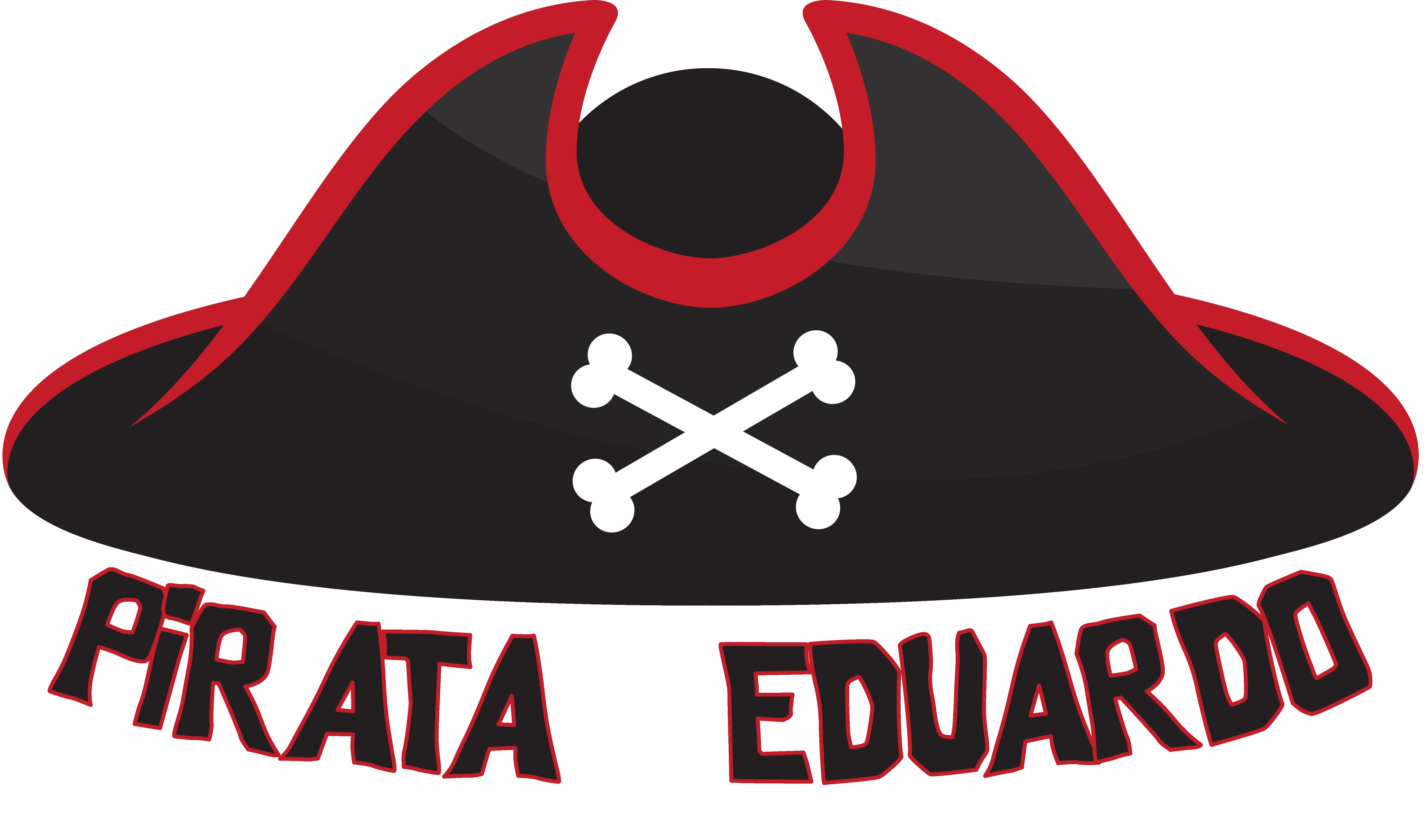 TenVinilo. Camiseta niños sombrero pirata con nombre. Camiseta pirata para niños y niñas con el diseño de un sombrero de colores oscuros con un ribete de color rojo y dos huesos cruzados.