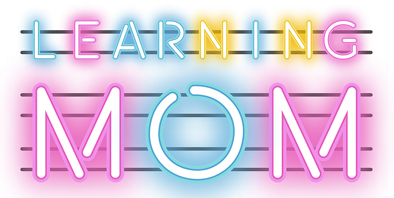 "TenStickers. Learning Mom neon Mothers day t shirt. Neon letters t-shirt for moms with the message ""learning mom"". A garment that will leave everyone amazed with this original design."