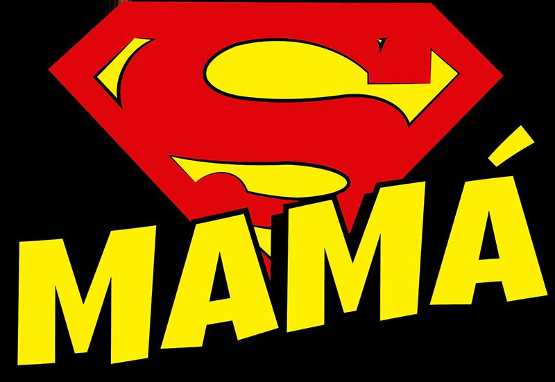 TenVinilo. Camiseta para madres Super Mamá. Una camiseta para super madres que desempeñan centenares de labores al dia. Este diseño está formado por la palabra Mamá y el símbolo de Superman