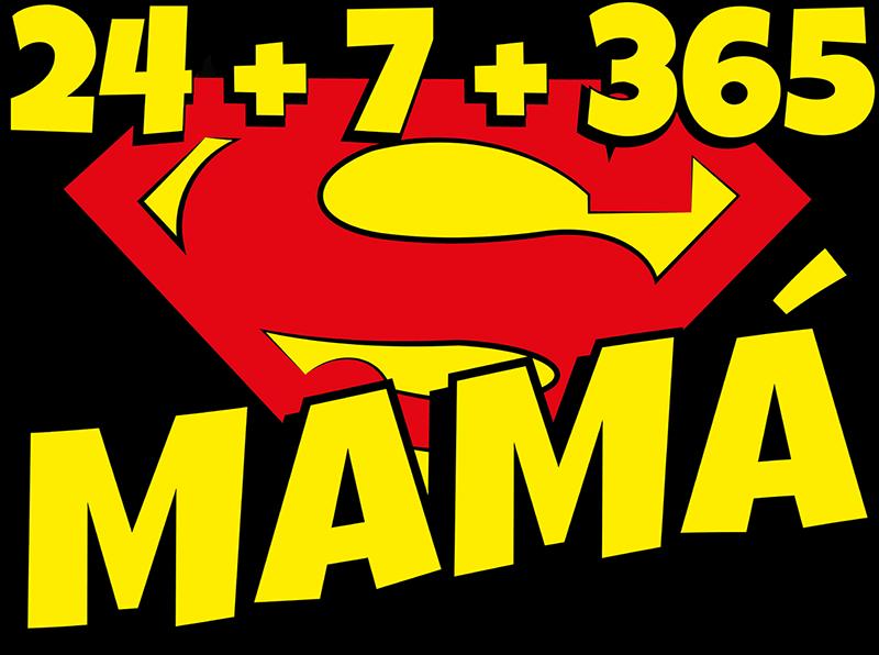 """TenVinilo. Camiseta para madres """"supermamá todo el año"""". Camiseta super mamá para mostrar que eres madre siempre. No solo de día o las horas que estás con tus hijos. Madre no hay más que una."""