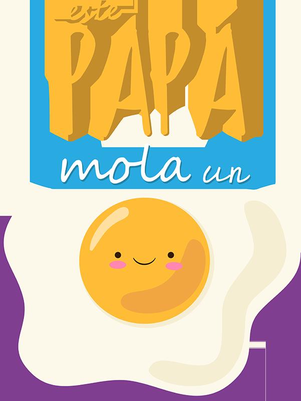 """TenVinilo. Camiseta papa mola un huevo. Camiseta especial para el día del padre con un divertido diseño con el mensaje """"Este papá mola un huevo"""", un diseño original y bonito."""
