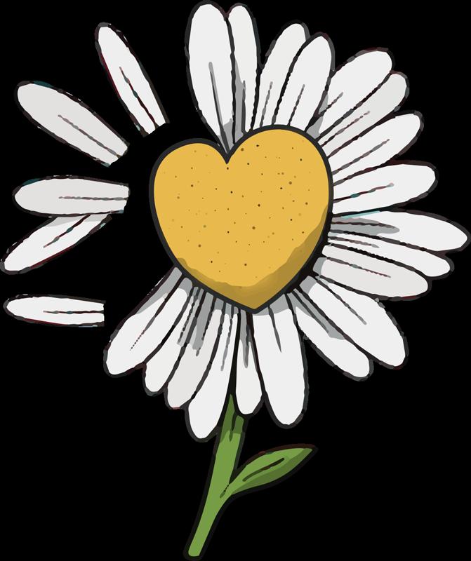 TenStickers. Százszorszép szív virág póló. Mutassa meg a virágok iránti szeretetét ezzel a százszorszép szív virágos pólóval, gyönyörű sárga színnel és szív alakú. érezd magad boldognak.
