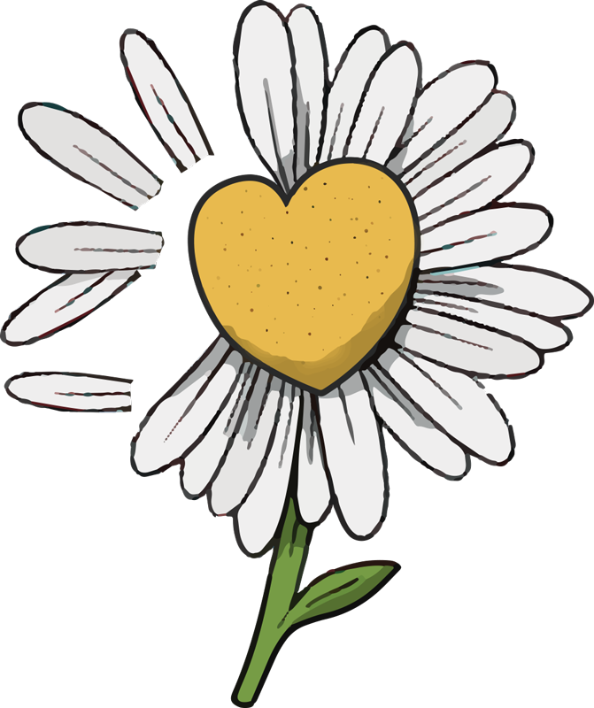 TenStickers. 雏菊心形花朵t恤. 这款雏菊心形花朵t恤以美丽的黄色和心形展现您对花朵的热爱。对此感到满意。