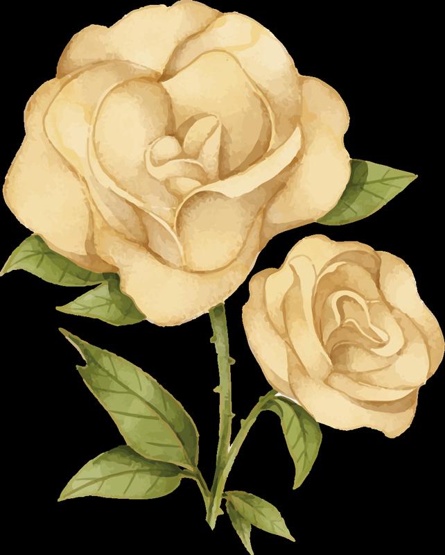 TenStickers. 金色玫瑰花朵t恤. 这款金色玫瑰花朵t恤表达您对花朵的热爱。生日女孩的理想礼物,使她的生日更加特别。