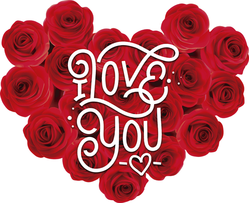 TenStickers. Roses I love you Couple t-shirt. Choose our beautiful white t-shirt couple t-shirt with red roses. Ideal to give as a gift to your partner and show how much you love him/her.