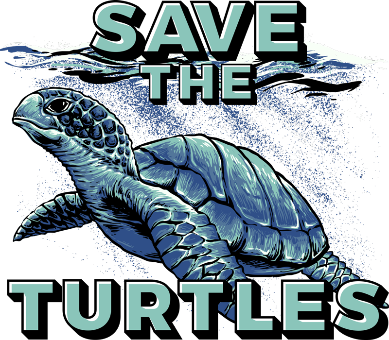 "TenStickers. ""Save the turtles"" animal t-shirt. Show your support by wearing this animal t-shirt. It has the message ""save the turtles"" on it. Motivate other people with this message."