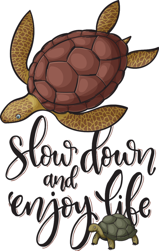 "TenStickers. Variety of turtles t-shirt. Unique women's t-shirt with two turtles on it with the text ""Slow down and enjoy life"". Buy this turtle women's t-shirt and make a difference."