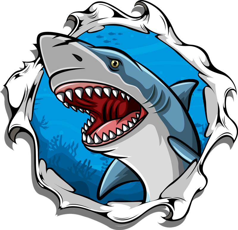 TenStickers. Big shark 3D Kids shirt. Cool shirt for kids with a 3D shark design. It is available in different sizes and it is easy to use. The product is made of high quality.