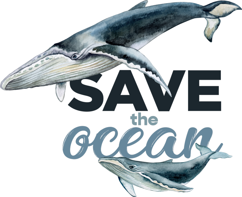 TenStickers. Save the ocean. Easy to wear t-shirt withthe design of a fish and ''save the ocean text. It is available in different sizes and colour.