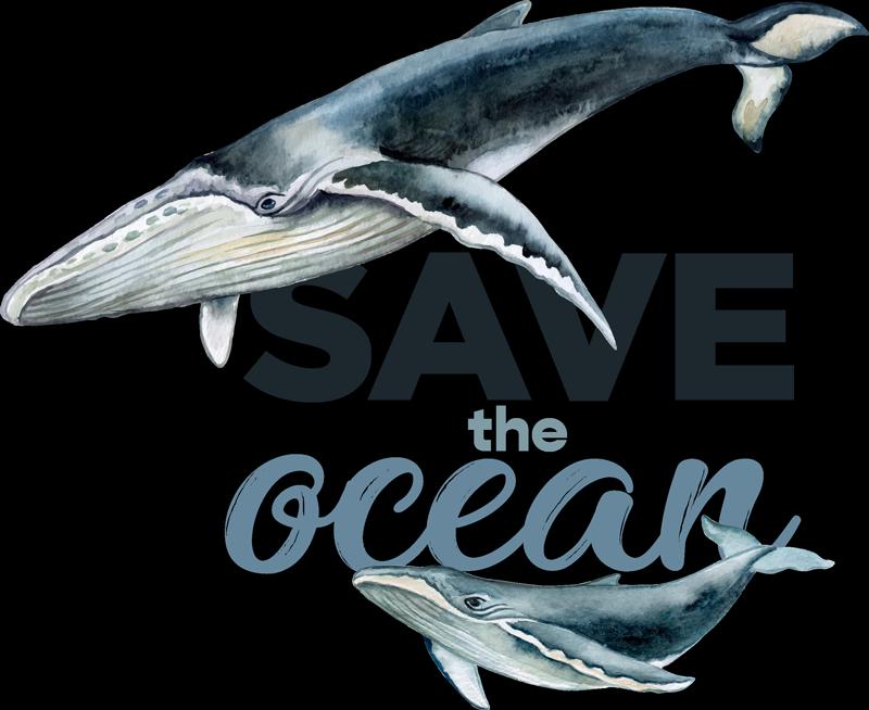 """TenVinilo. Camiseta de peces con frase salva el océano. Camiseta con frase""""salva el planeta"""" y con el diseño de un pez. Elige la talla que necesitas. Alta calidad ¡Envío a domicilio!"""