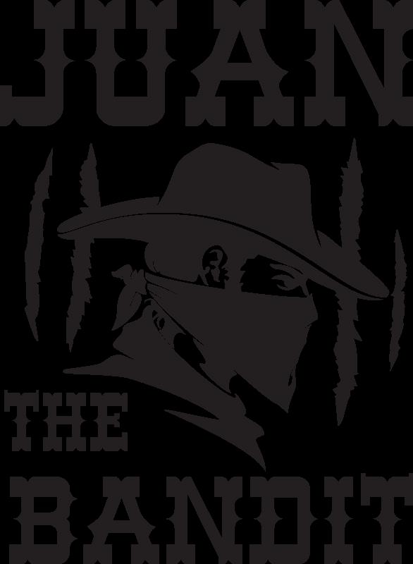 TenStickers. Bandiet met naam t-shirt ontwerp. Wilt u vlag als een maskerbandiet? Hier is een ontwerp van de cowboy bandiet met naam t-shirt om dit te doen. Het is een kwalitatief hoogstaand product en gemakkelijk te onderhouden.