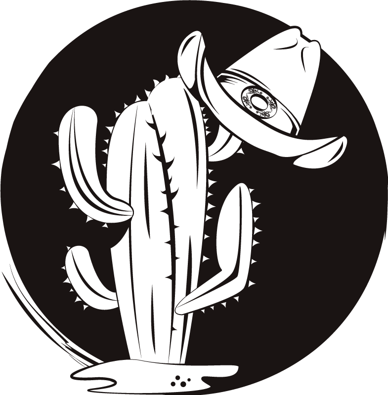 TenStickers. Cactus and hat western pattern t-shirt. Beautiful cowboy theme t-shirt design to rock your pair of jean, pants and shorts. It is original, easy to wash and iron.