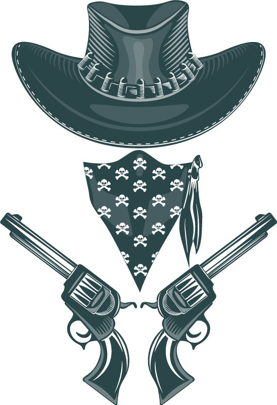 TenStickers. Cowboy hat, bandanna and revolvers t-shirt. Acute cowboy shirt designfrom our collection ofcowboy theme t-shirt  It is printed with the design of a cowboy hat, bandanna and revolvers.
