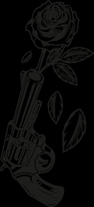 TenStickers. Cowboy revolver és rózsa póló. Alkalmi ingterv a cowboy témájú póló kollekciónkból. Rózsavirágot lövő revolver tervével van kinyomtatva.