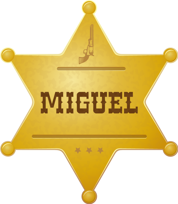 TenStickers. Sheriff badge with name t-shirt. Personalized namegolden star badge t-shirt design to show off as a sheriff officer.  You would love the shirt design so is your friends and family.
