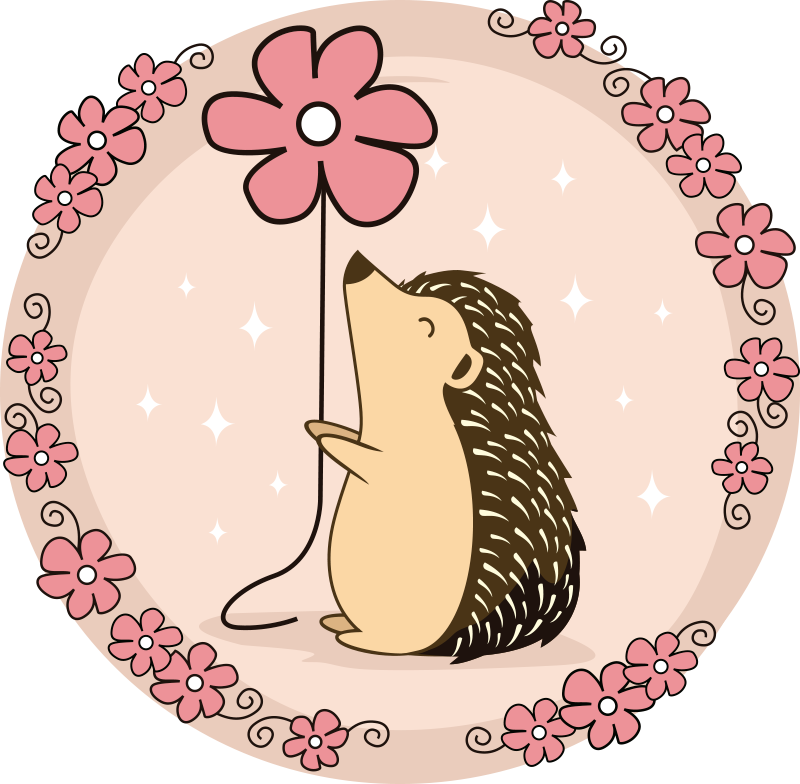 TenStickers. Porcupine and daisy t-shirt. From our collection of amazing t-shirt design we bring you our special t-shirt with porcupine with daisies flower design.