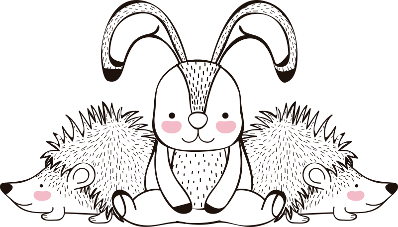 TenStickers. T-shirt porcospino e conigli. Alla ricerca di una semplice t-shirt casual con una stampa di design speciale per ravvivare la tua giornata? Ecco un perfetto design per t-shirt di porcospino e coniglio per te.