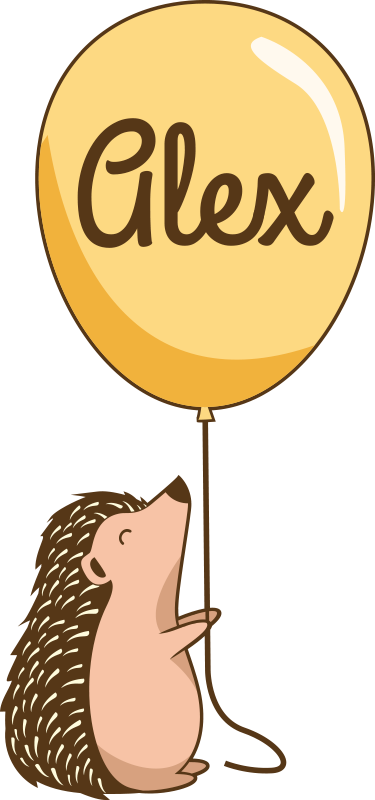 TenStickers. porcupine with ballon and name t-shirt. Personalize name t-shirt designed with the print of a porcupine holding a balloon with custom name.   It is of good quality and easy to clean.