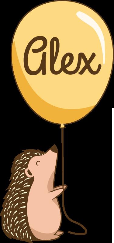 TenVinilo. Camiseta infantil puercoespín con globo y nombre. Personalice la camiseta con nombre diseñada con puercoespín infantil sujetando un globo en el que irá el nombre que desees ¡Envío a domicilio!