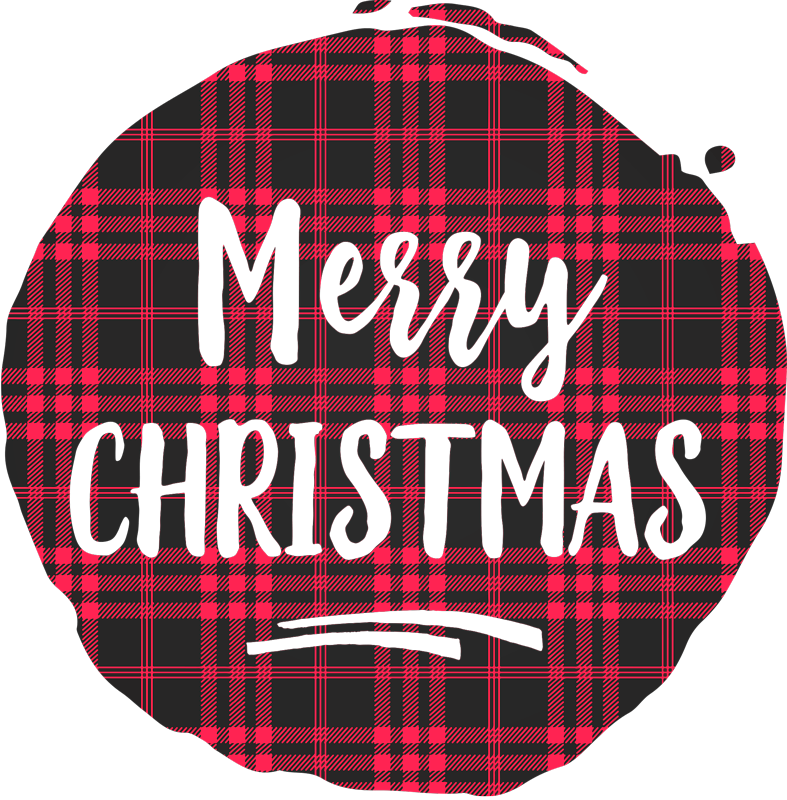 TenStickers. Christmas tartan pattern Christmas  t-shirt. Tartan pattern Christmas shirt design with 'Merry Christmas'' inscription on it. A lovely design to rock your pair of jean, shorts and skirt.