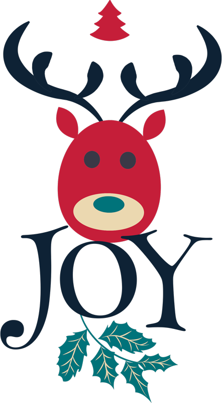 TenStickers. Joy and Reindeer Christmas  t-shirt. Joy and Reindeer Christmas shirt design for ladies. An amazing simple Christmas t-shirt design for ladies . It is easy to maintain.
