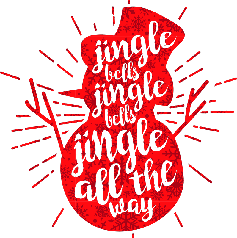 TenStickers. Red snowflakes Christmas  t-shirt. Celebrate Christmas with our iconic jingle bell Christmas carol song shirt design featured with snowman and snowflakes. Available in different colour.