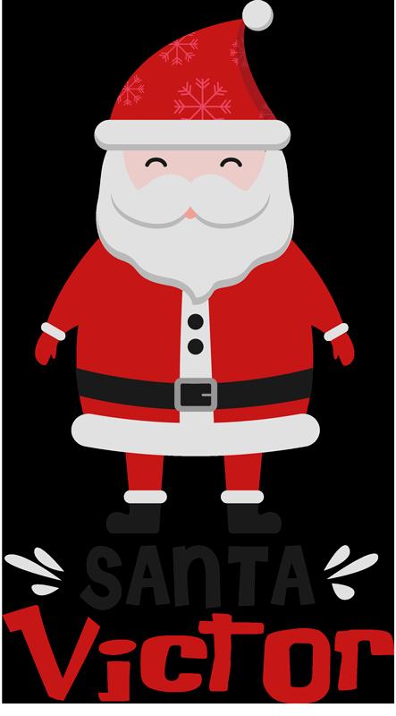 TenVinilo. Camiseta de Navidad Santa Claus con nombre. Camiseta de Navidad con el diseño de un Santa Claus y el nombre personalizable perfecta para llevar en estas fechas ¡Envío a domicilio!