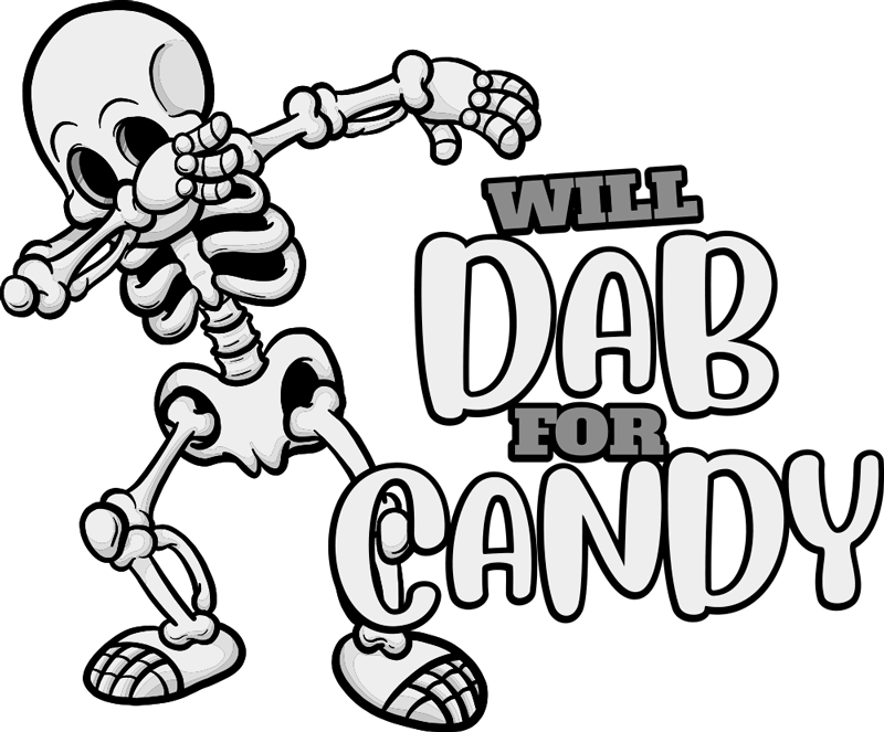 TenStickers. Cute dab for candy Halloween t-shirt. Looking for a funny Halloween t-shirt design? Here is a fun t-shirt design printed with the the image of a skeleton making a dab . Easy to maintain .