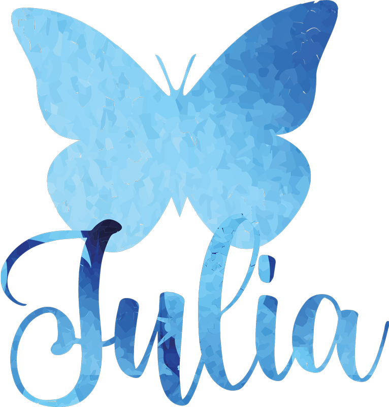 TenStickers. Painted butterflies t-shirt. Beautiful blue butterfly pattern t-shirt for women!  The design is customizable with any name of choice. Easy to maintain and original.