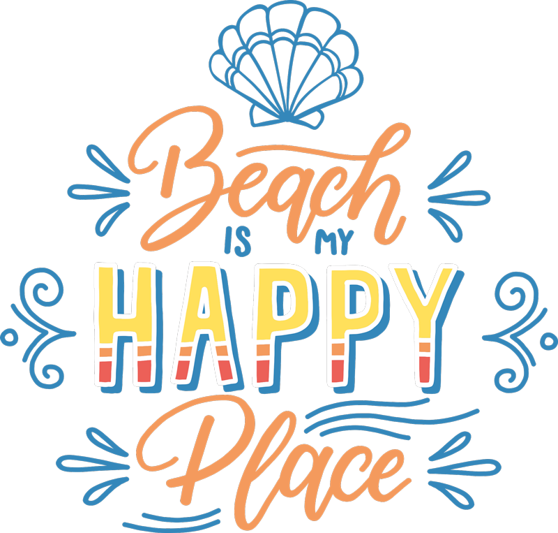 TenStickers. T-shirt beach is my happy place. A perfect beach is my happy place for those who love the beach and makes them happy. High quality product that can be delivered to your house.