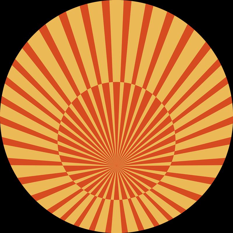 TenStickers. T-shirt jaren 70 70's zonneschijn. Vintage t-shirt met een klassiek jaren 70-ontwerp van een gestreepte zonneschijn in geel en oranje. Verkrijgbaar in verschillende maten.