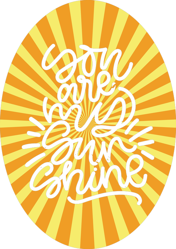 TenStickers. T-shirt Abstract sunset and quote. Do not miss this opportunity to have an original with vintage style t-shirt. You are my sunshine with sun stripes t-shirt.