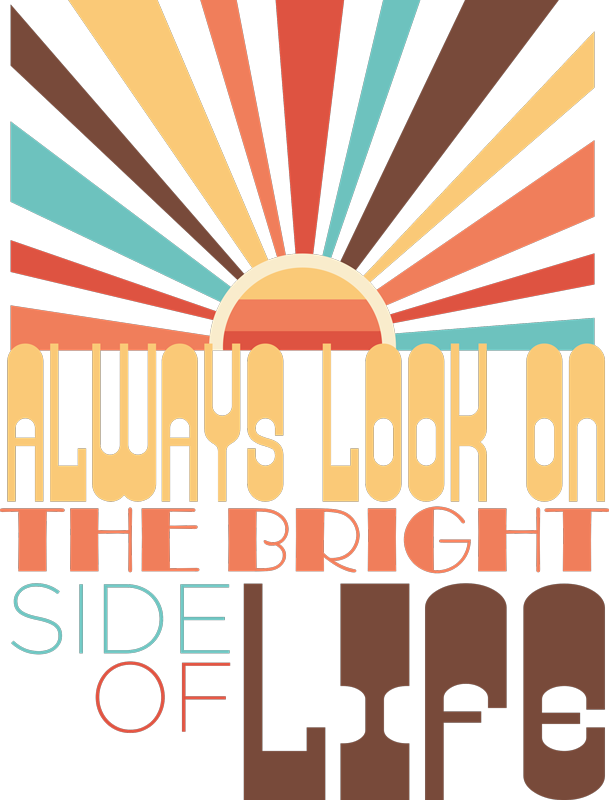 TenStickers. T-shirt look on the bright side. A motivational quote t-shirt to make you see everything in a positive way with a sunset full of colors as blue, brown, yellow and red.