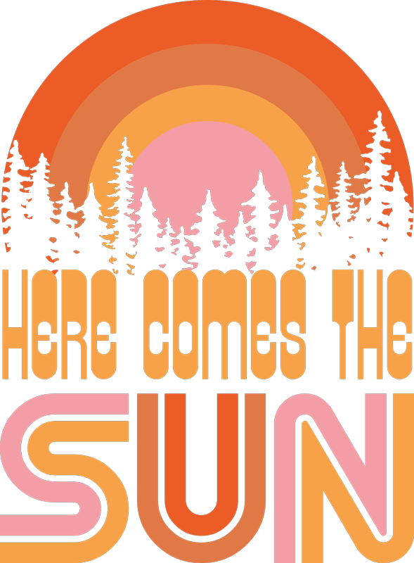 TenStickers. T-shirt here comes the sun. Here comes the sun t-shirt with trees and a colorful sunset to rock your outfit this summer. Men and female sizes available!