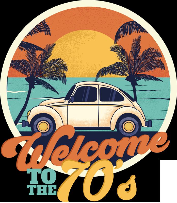 TenStickers. футболка добро пожаловать в 70-е. Наслаждайтесь оригинальным закатом с футболкой с цитатой, которая перенесет вас в прекрасные 70-е. круглый дизайн с красочным текстом.