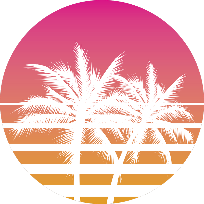 TenStickers. T-shirt Sunset and palm trees Vintage. Wear this orange and pink round sun with palm trees and stripes t-shirt to look original and amazing during summer. S to XXL sizes available!