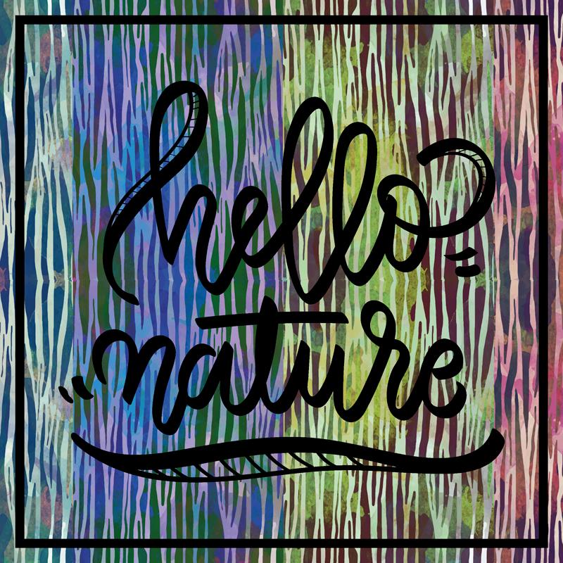 """TenVinilo. Camiseta frase hola naturaleza. Camiseta de cebra que presenta el texto """"hola naturaleza"""" sobre un fondo con estampado de cebra. Hecho a medida ¡Descuentos disponibles!"""