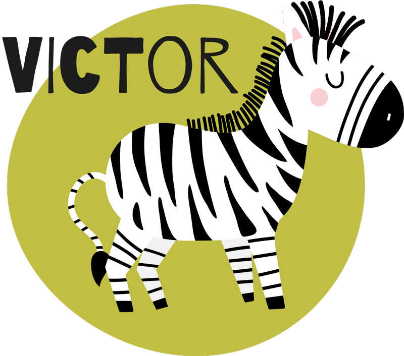 TenStickers. Cute Zebra Kids shirt. Zebra t-shirt for kids which features a cute image of a zebra in a coloured circle with your child's name next to it. Choose your size.